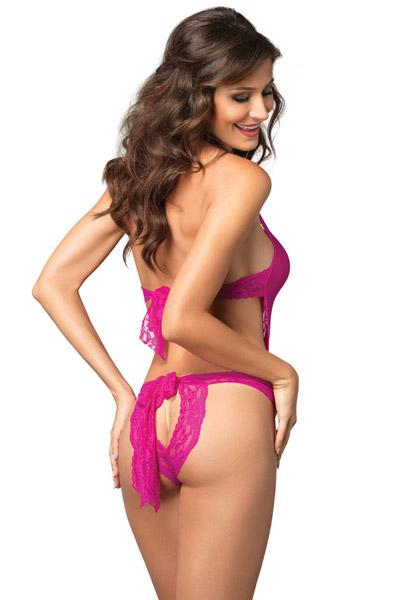 Body leg avenue deep-v en dentelle fuschia