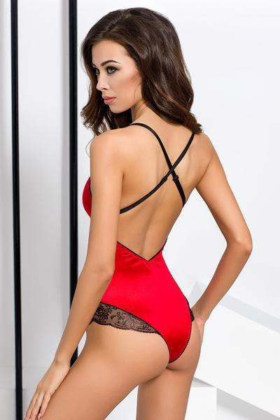 Body passion brida satin et dentelle rouge