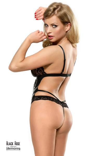 BODY STRING DEMONIQ ZOE WETLOOK ET DENTELLE NOIR