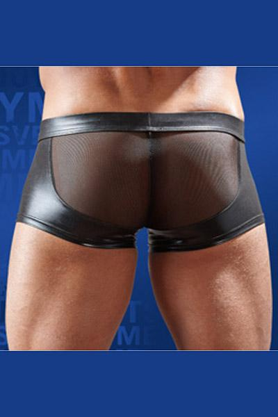Boxer zip et wetlook transparent noir