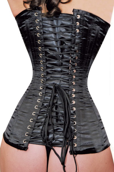 CORSET SILHOUETTE 6 ATTACHES LACETS AU DOS NOIR
