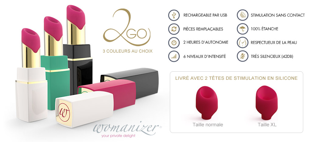 STIMULATEUR CLITORIDIEN NOIR WOMANIZER 2GO u