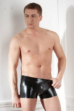 Short zippe latex homme