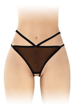 String ouvert noir fine maille sexy