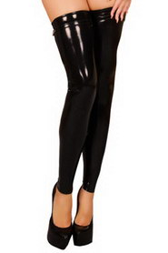 Bas legging latex noir