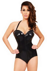 Body en latex double zip lacets au dos noir