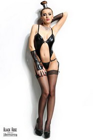 BODY STRING DEMONIQ NADINE ET MITAINES NOIR
