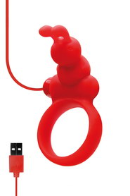 COCKRING USB AVEC STIMULATEUR DE CLITORIS ROUGE