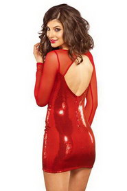 MINI ROBE SEXY ROUGE PAILLETÉE LEG AVENUE