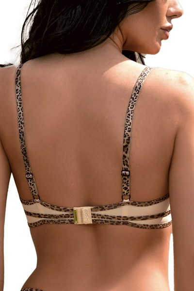 Soutien-gorge push-up beige ornements léopard