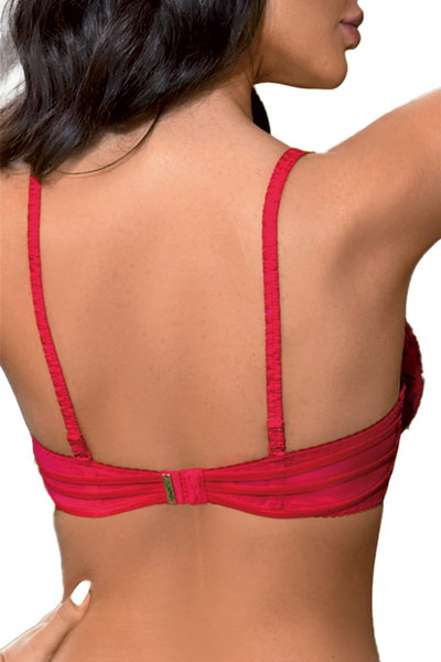 Soutien-gorge rouge ornements broderies bleues